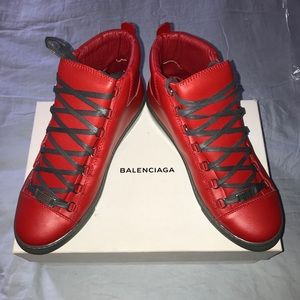 Men's Red Balenciaga Arena Shoes
